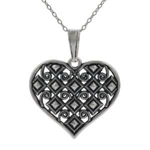 Sterling Silver Vintage style Heart Necklace Jewelry
