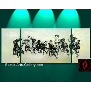 Chinese Sumi Art Brush Painting   Eight Horses Galloping
