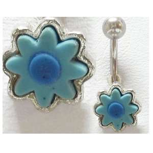 Belly Ring Baby Blue Sun Flower 14g Belly Button Navel Ring   Free