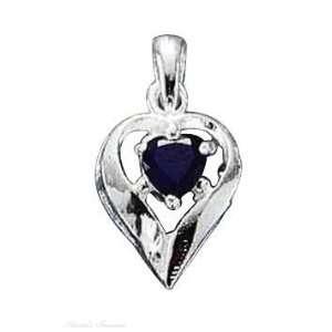Sterling Silver September Birthstone Heart Charm Arts