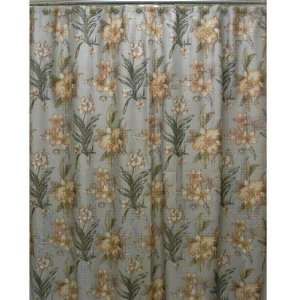 Villa Flora Blue And Yellow Shower Curtain With 12 Hooks