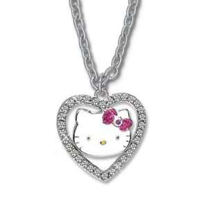 Hello Kitty Crystal Heart Pink Bow Charm Necklace