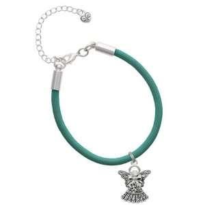 Bow & Swarovski Crystal Charm on a Teal Malibu Charm Bracelet Jewelry