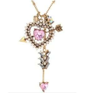 Arrow Heart Bow Pink Pearl 16 to 18 Necklace
