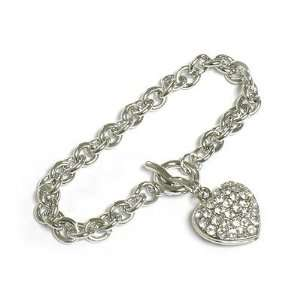 Crystal Puff Heart Charm Toggle Bracelet   White Gold Plated Jewelry