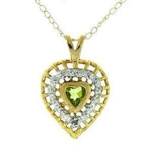 Genuine Peridot Diamond 10K Gold Heart Pendant Necklace Jewelry
