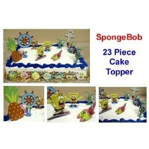 SpongeBob SquarePants Birthday Cake 23 Piece Cake Topper Set Featuring