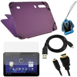GTMax Purple Leather Case Folio with Built in Stand + LCD