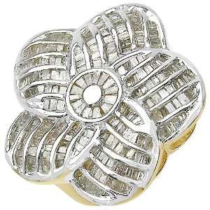 54 Carat 14K Gold Plated Genuine Diamond Accents Sterling Silver Ring