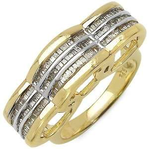 65 Carat 14K Gold Plated Genuine Diamond Accents Sterling Silver Ring