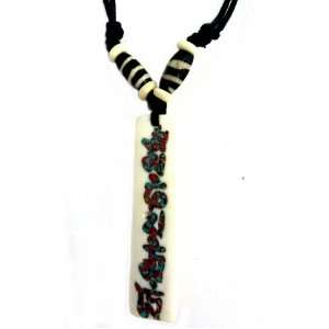 Yak Bone Necklace Tibetan Carved Om Mani Padme Hum (White