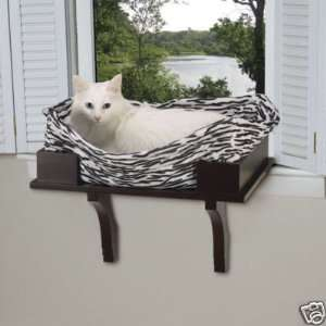 Tabby Kitty Cat Wooden Window Seat Perch ESPRESSO