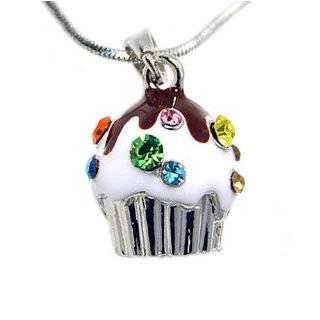 Silver Mini Cupcake Pendant Charm Necklace Fashion Jewelry Jewelry