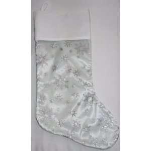 Silver Satin Christmas Stocking with Snowflake Design