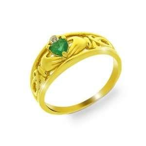 9ct Yellow Gold Emerald & Diamond Claddagh Ring Size 7 Jewelry