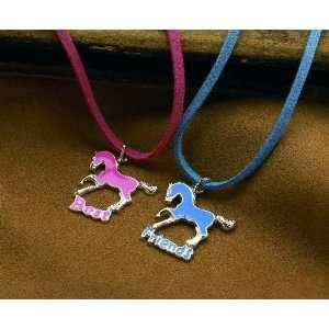 Best Friends Horses Double Necklaces Set   Blue/pink