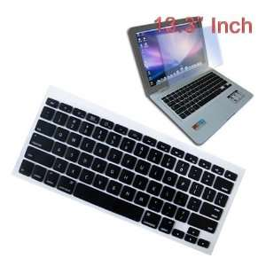 Black Soft Silicone Keyboard Skin Cover + 13.3 inch Clear screen
