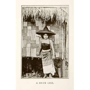 1907 Print Shian Woman Portrait Cultural Costume Hat Fashion Historic