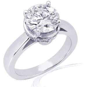 0.75 Ct Round Cut Diamond Engagement Ring Crown Set 14K