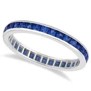 Princess Cut Blue Sapphire Eternity Ring Band 14k White