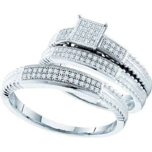 10KWG Diamond Micro Pave Trio Ring Set With 0.25CTW Diamonds In Rows