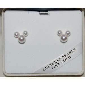 Disney Mickey Ear 14K Gold Pearl Earrings  Sports