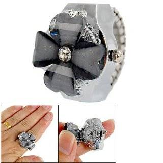 Fashion Ring Watch on Adjustable Stretch Band Silver Tone Jewelry