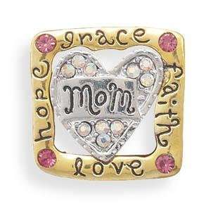 Crystal Mothers Day Mom Grace Faith Hope Love Fashion Pin Jewelry