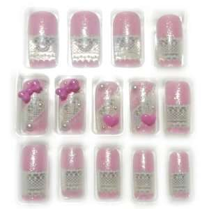 3D Heart/Bow & Pearls Glue/Stick/Press On Fake/Artificial/False Nails