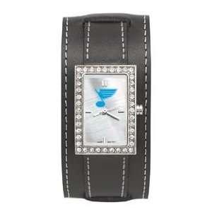 Blues Starlette Watch Wide Black Leather Strap