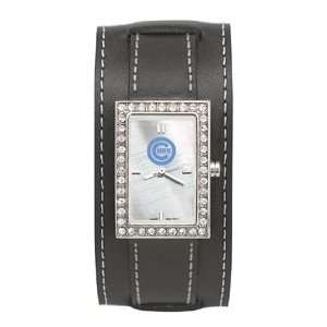 Ladies/Womens Sports Watch black leather strap