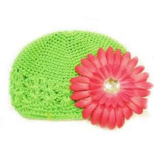 Fits 0   9 Months With a 4 Hot Pink Gerbera Daisy Flower Hair Clip