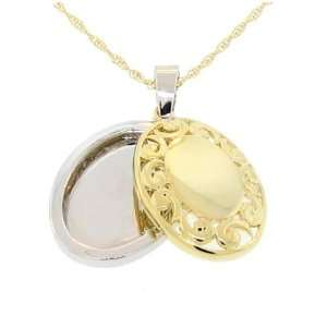 Two tone 2 piece Filigree Locket Pendant Necklace with Chain Jewelry