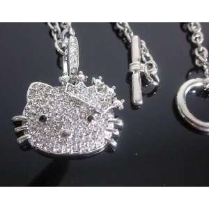 Hello Kitty Cubic Zirconia Diamante Crown Necklace w/gift box by