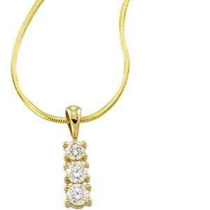 14K Yellow Gold Diamond Three Stone Pendant W/Chain