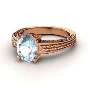 Oval Ceres Ring, Oval Aquamarine 14K Rose Gold Ring Jewelry