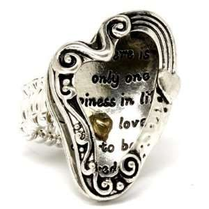 Heart Stretch Ring Love Silver Gold Tones Inspirational