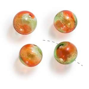 Hand Blown Lampwork Glass 20mm Round Beads Red Green Gold
