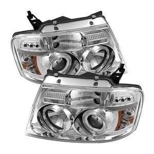 04 08 Ford F 150 Chrome LED Halo Projector Headlights