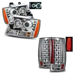 07 11 Chevy Tahoe Chrome CCFL Projector Headlights + LED Tail Lights