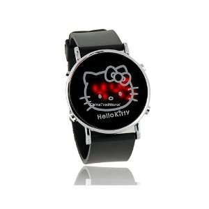 Hello Kitty Red Light Round Dial Plastic Watchband LED Wrist Watch