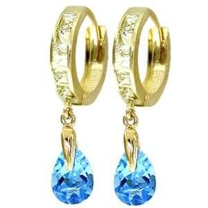 14k Gold Hoop Huggie Earrings with Genuine White Topaz