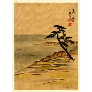 18   Japanese Print . Coastal view with village and pine trees