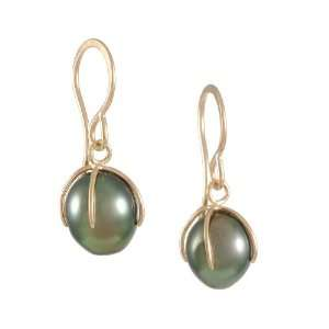 MELISSA JOY MANNING  Small Tahitian Pearl Drop Earrings: Jewelry