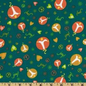 44 Wide Peace Love Joy Abstract Peace Signs Teal Fabric