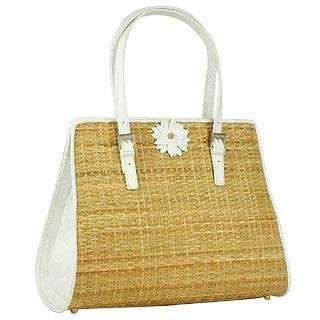 Forzieri Capaf White Flower Wicker & Leather Tote Bag Clothing