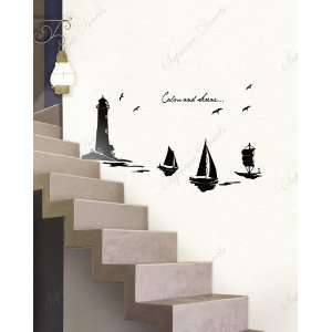 Lighthouse and Sailing Boards   removable vinyl art wall decals murals