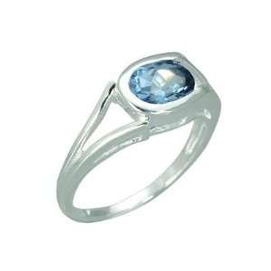 Oval Shape Genuine London Blue Topaz Sterling Silver Ring Jewelry