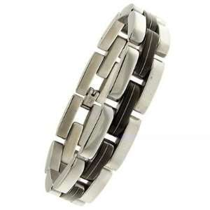 com Mens Polished Stainless Steel Rubber Look Panther Link Bracelet