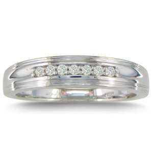 1/5ct Mens Diamond Wedding Band in Sterling Silver